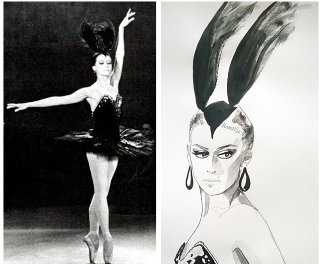 Black Swan // Maya Plisetskaya – Olesja's Fashion Illustration